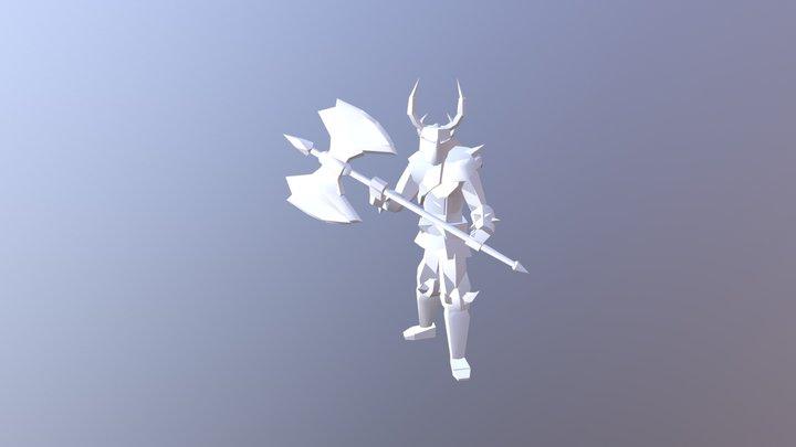 Low Poly Axe Man 3D Model