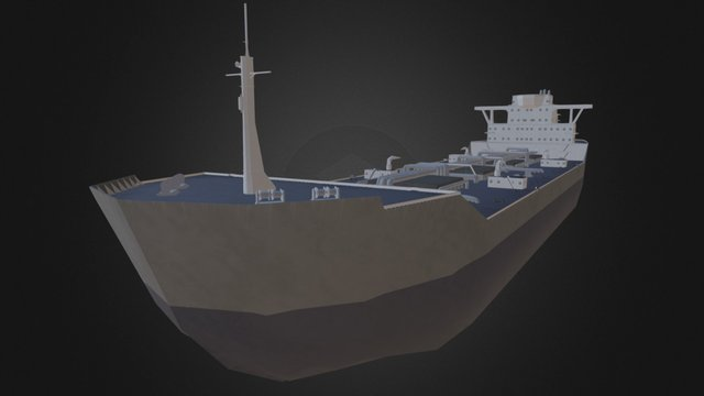Low-Poly Tanker Ship 3D Model