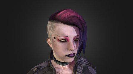 Ana - Ombré Half-Shave Hair mod 3D Model