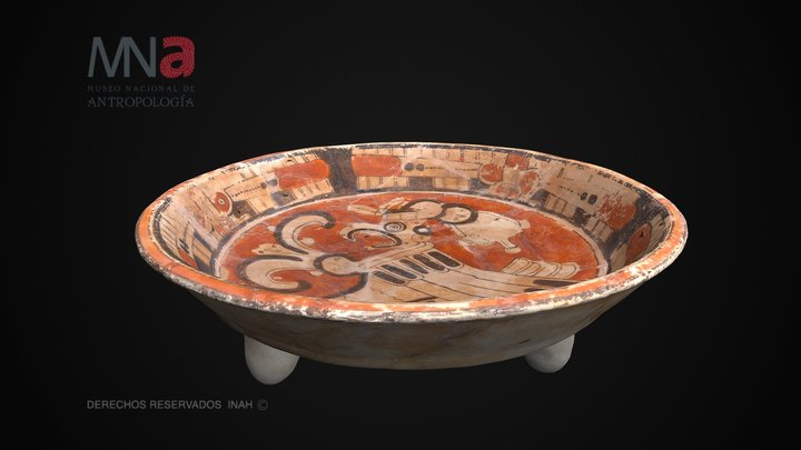 Plato maya Cui Anaranjado Polícromo 3D Model