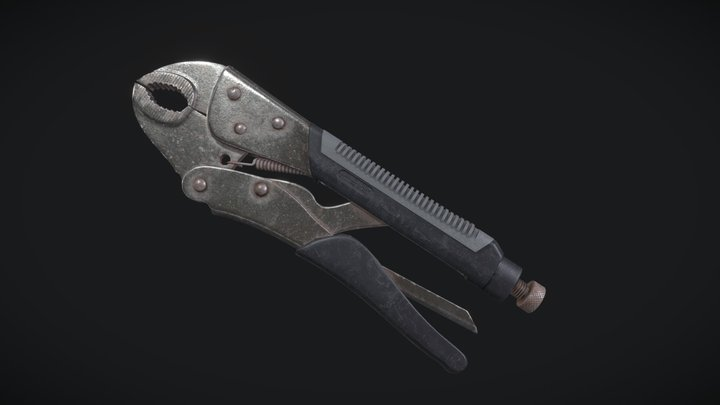 Curved Jaw Locking Plier 3D Model