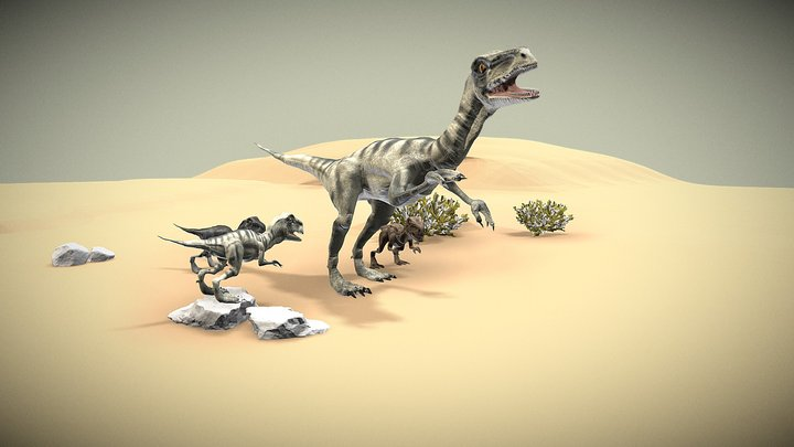 Velociraptor and velokids 3D Model