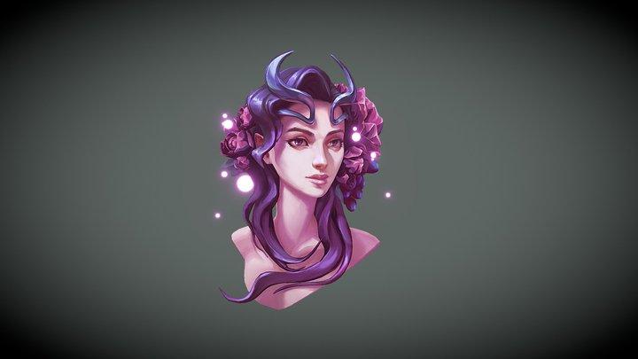 Flower Face 3D Model