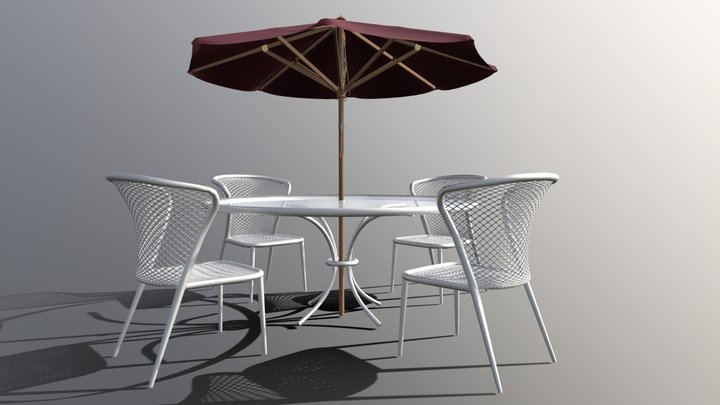 Patio Dinette with Umbrella 3D Model