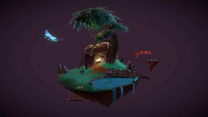 Diorama Sky Fisherman 3D Model