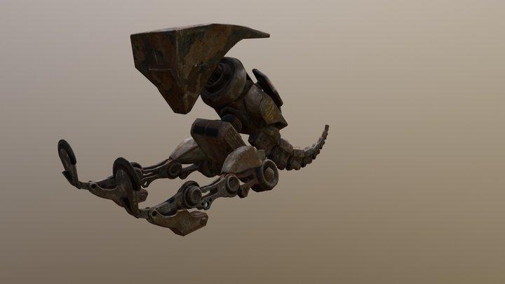 Robotic T-Rex Kicking Animation 3D Model