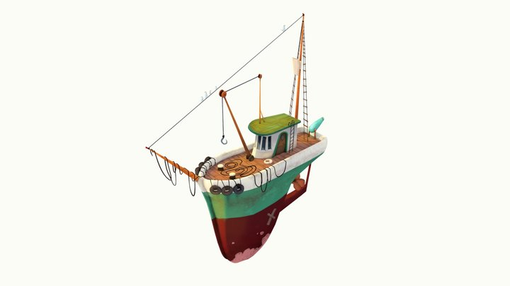 Fishing Boat: Low-poly hand-paint 3D Model