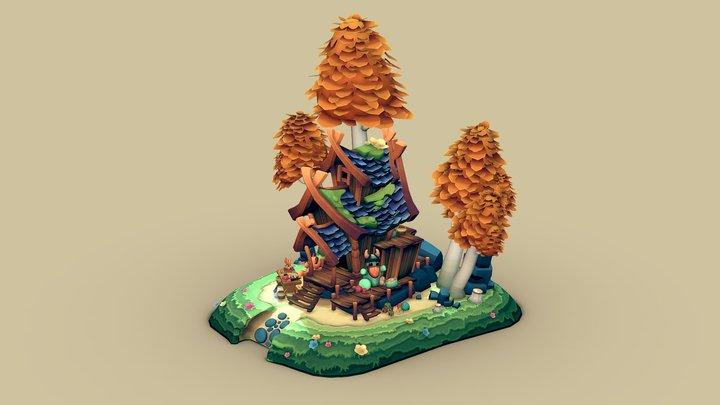 Viking toy maker cottage - DAE villages 3D Model