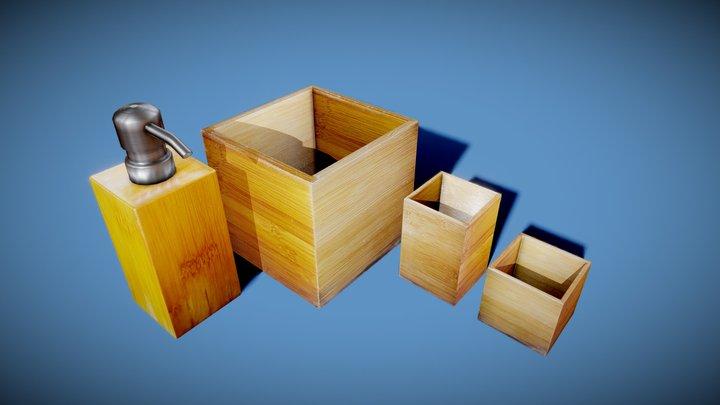 Bamboo Bathroom Accessories 3D Model
