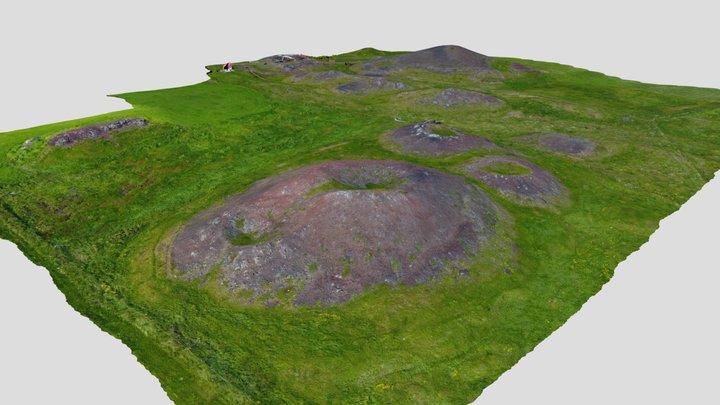 Rootless cones, N Iceland 3D Model