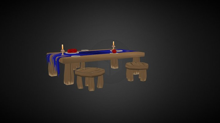 Low Poly Fantasy Dining set 3D Model