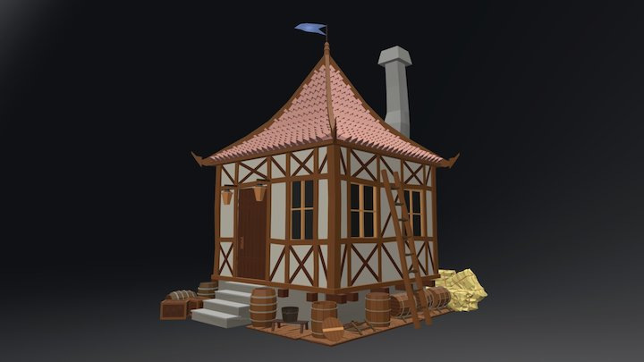 Low Poly Medieval Village House 3D Model