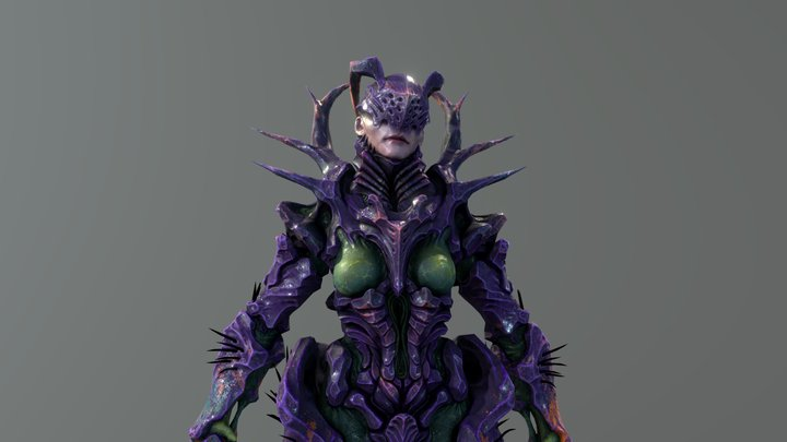 Carapace Queen - Fully Rigged 3D Model