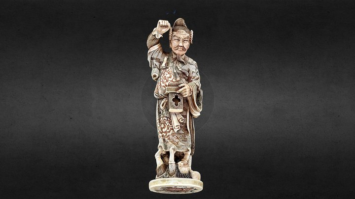 Antique Chinese ivory man. 3D Model