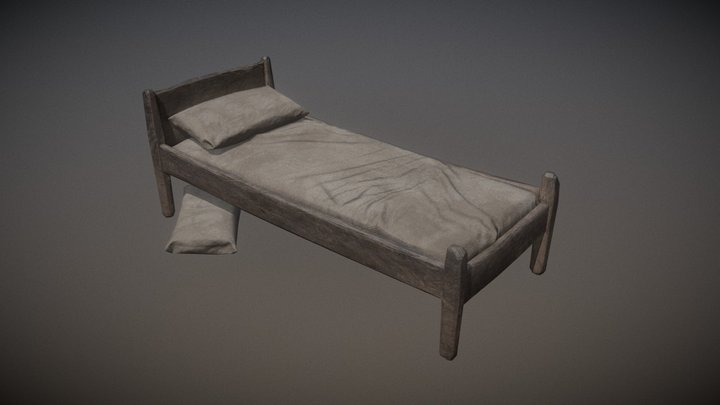 Old Bed + Pillow 3D Model