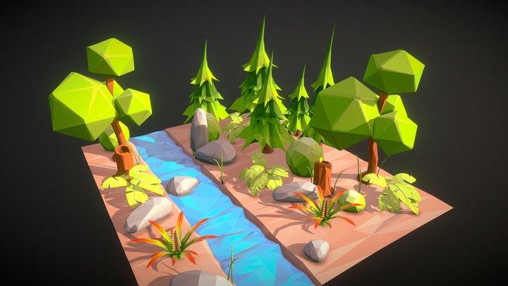 LowPoly Environment Set 001 3D Model