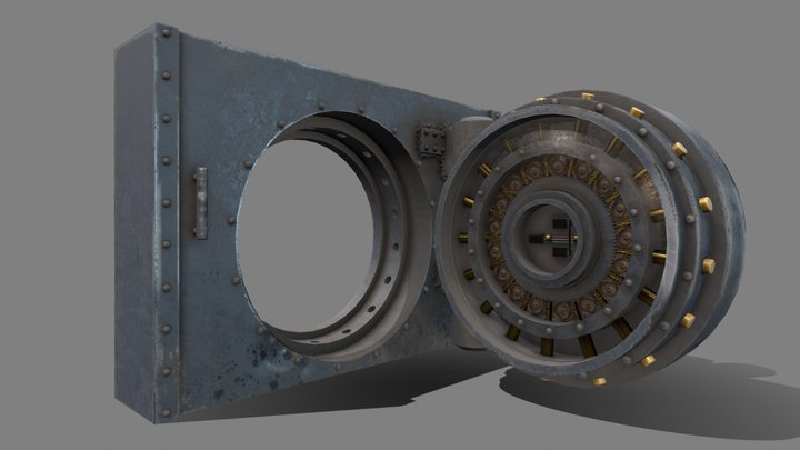 Bank vault | Armored Door | Low poly 3D Model