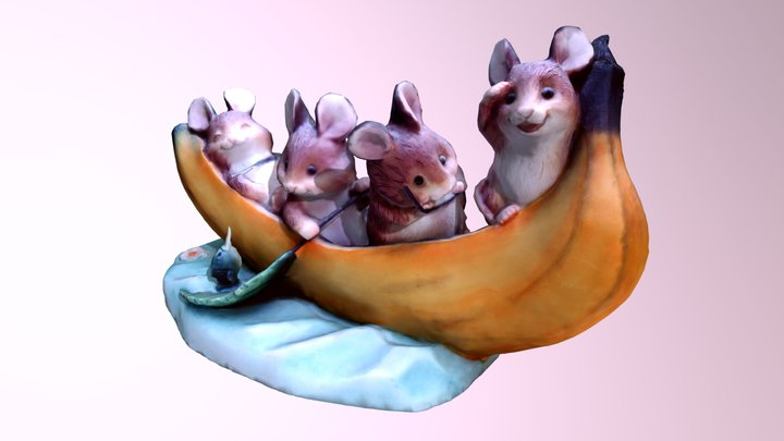 Hamster / Doormice In A Banana Boat 3D Model