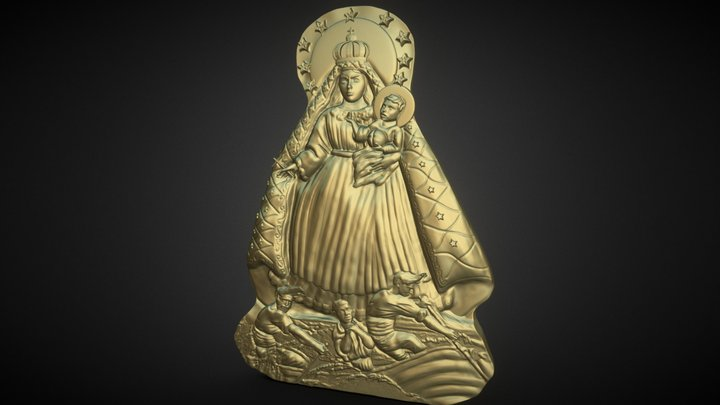 Our Lady Of Charity Carved Sculpture 3D Model