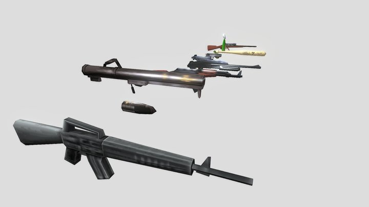 All Guns Gta 3 3D Model