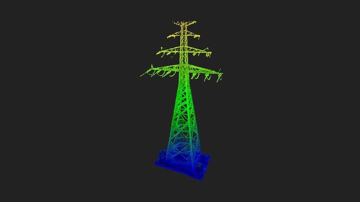 High voltage pole LiDAR point cloud 3D Model