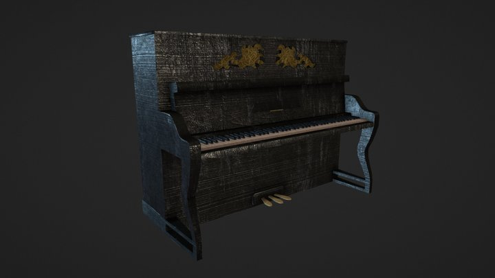 Old piano. 3D Model