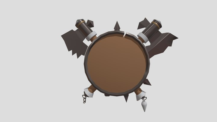 Orc's shield and axes 3D Model