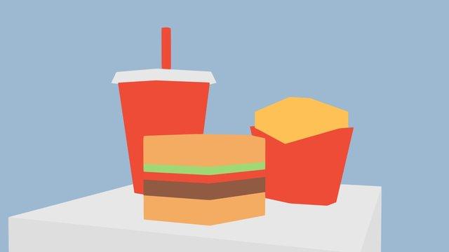 lowpoly burger 3D Model