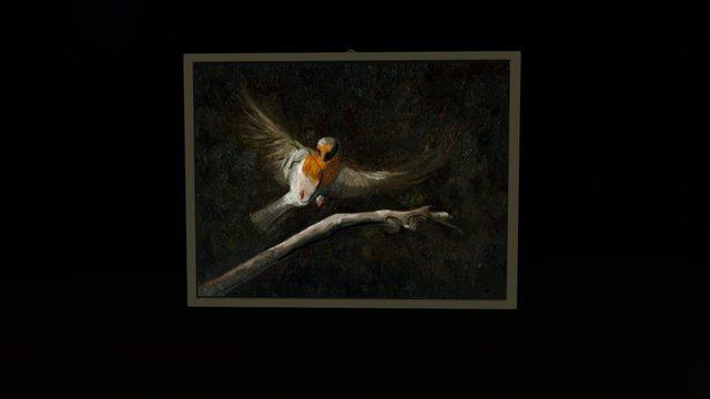 Bird flies to the branch 3D Model