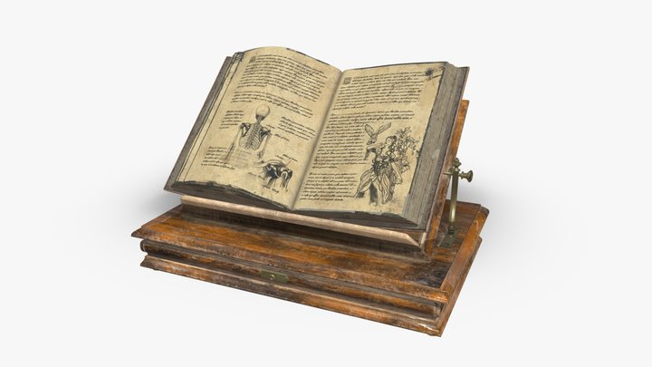 Old Book In Bookrest 3D Model