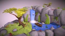 Waterfall Island 3D Model