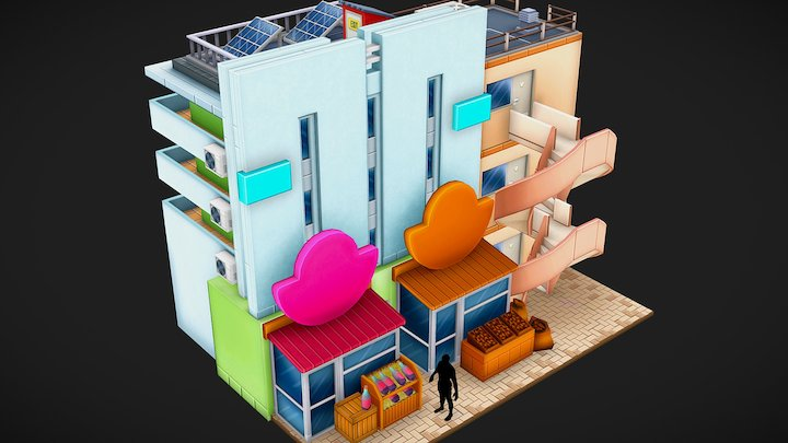 Low poly shop building 3D Model