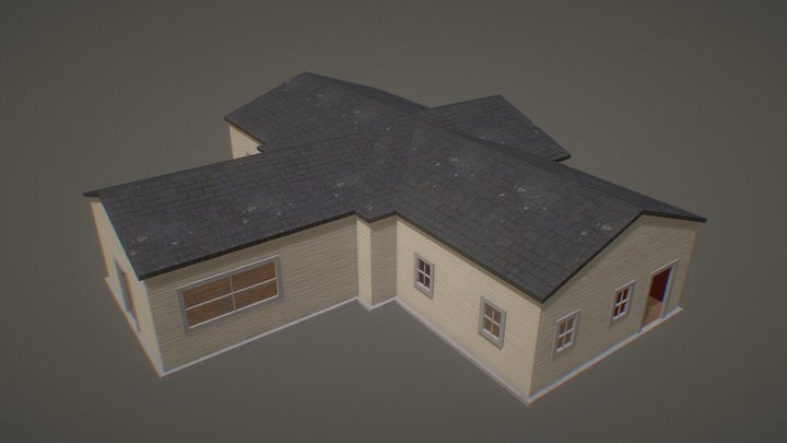 Single Story House: Textured with Interior 3D Model
