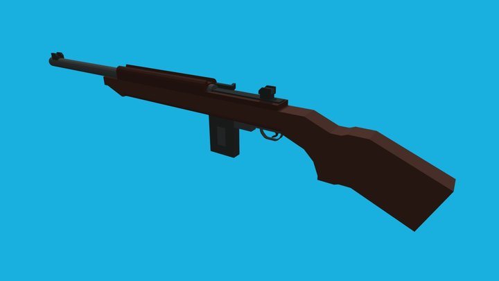 M1 Carbine / Low-Poly / Minecraft 3D Model