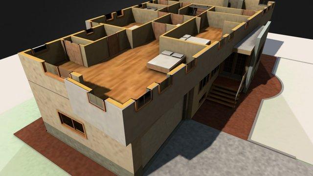 Cutaway view showing second floor 3D Model