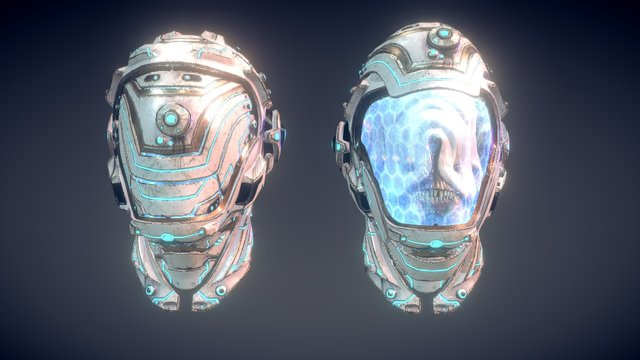 Alien head with Helmet 3D Model