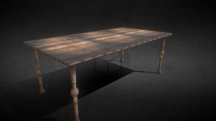 Game Ready Rustic Table 3D Model