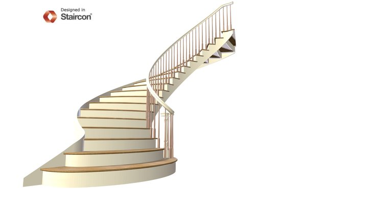 Ellipse Stair with ascending Volute 3D Model