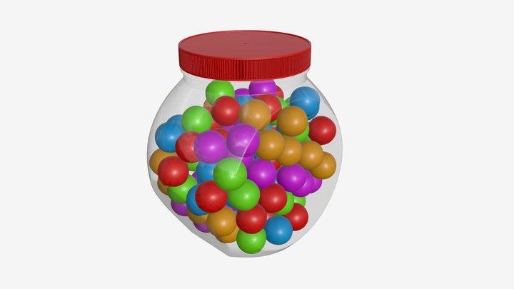Gumballs in glass jar 01 3D Model