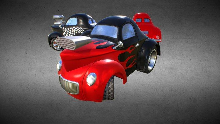 Cartoon Hot Rod Coupe 3D Model