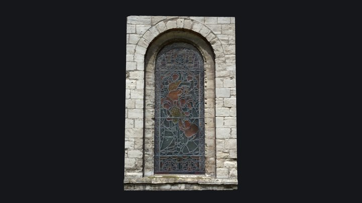Gothic Style Medieval Church Window 3D Model