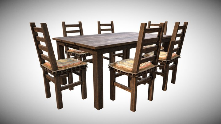 Table and Chair Classic 3D Model