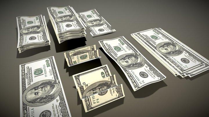 Two-sided 100 dollar bill 3D Model