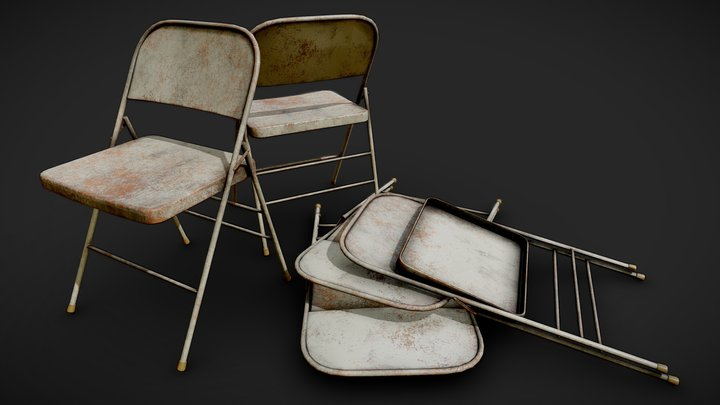 Rusty Folding Chairs 3D Model