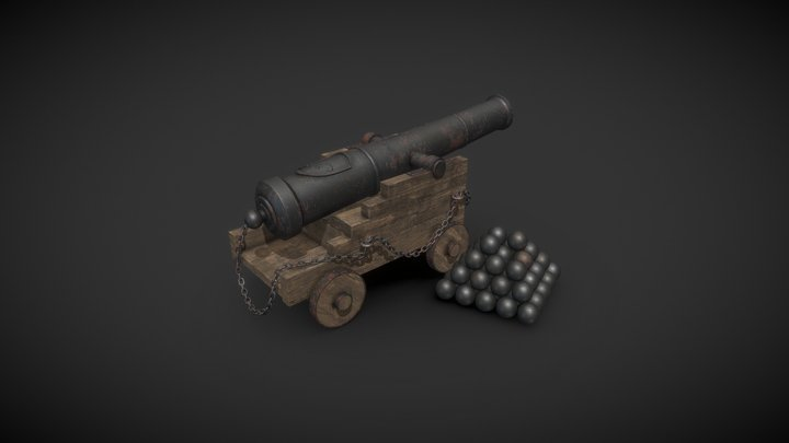 Old Historical Cannon 3D Model