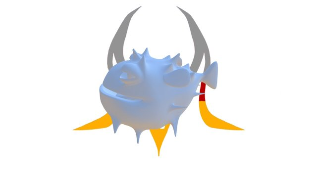 Cartoon Blowfish 3D Model