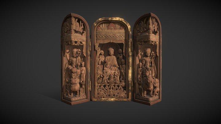 Korea National Treasure_042_순천 송광사 목조삼존불감 3D Model