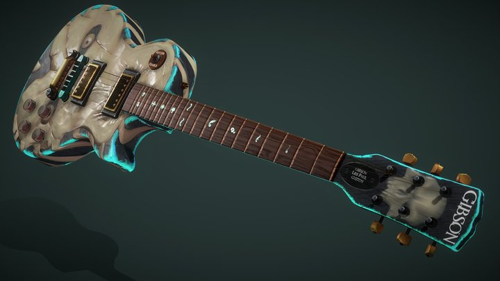 """Gibson Les Paul Custom Guitar - """"Direct to Hell"""" 3D Model"""