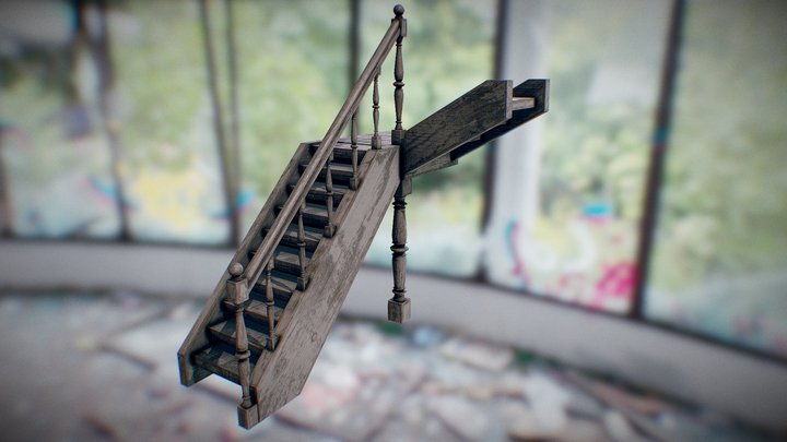 Old House Stairs 3D Model