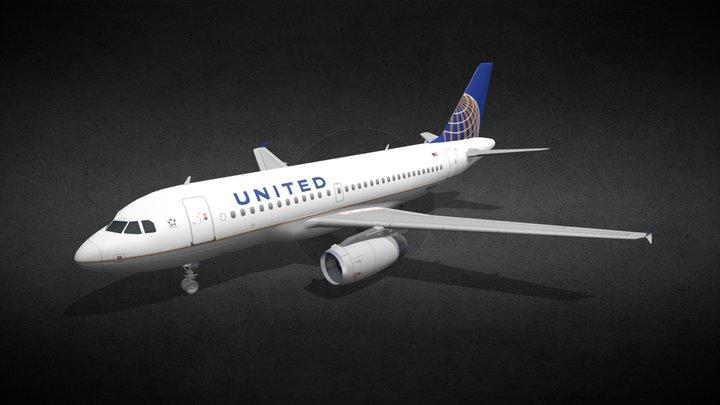 Airbus A319-131 UAL Obj 3D Model